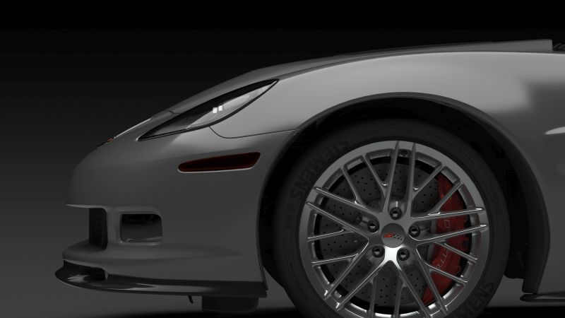 A high-quality rendering of the front side view of a corvette. high-end rendering is a vital tool for understand designs.