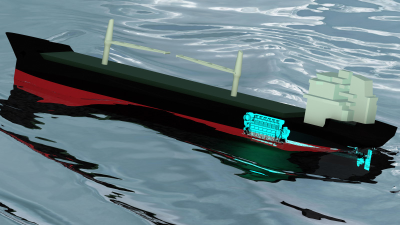 CFD simulation of ship and engine in beam seas, helps to predict ship fuel consumption