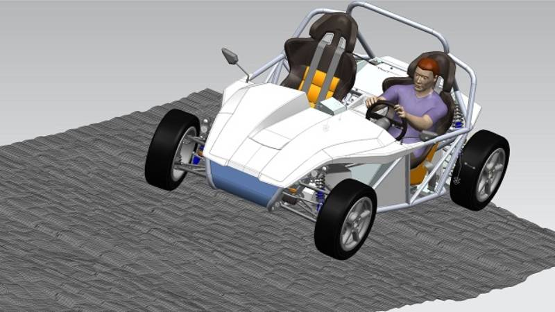 A virtual model demonstrating the predicted suspension loads for durability simulation.
