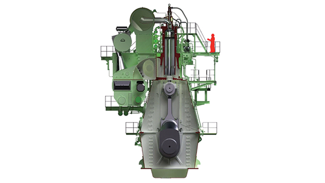 Two-stroke diesel engines are very tall, which enables high-torque performance without any gearbox. Connecting the engine directly to the propeller shaft allows design specialists to achieve 50 percent mechanical efficiency.