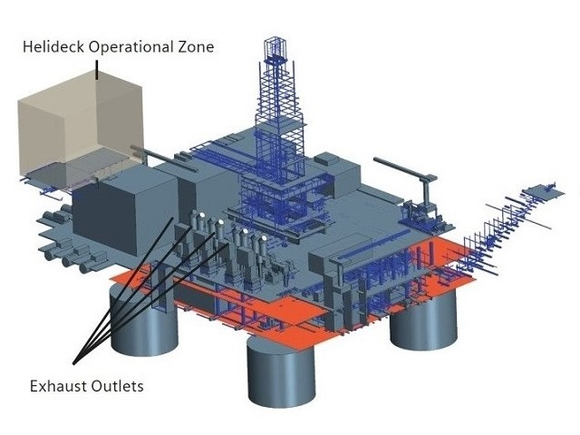 The offshore platform is powered by burning some of the gases it produces