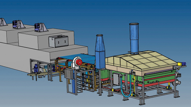 CAD assembly of a food processing oven designed by Lanly using the synchronous technology functionality of Solid Edge.