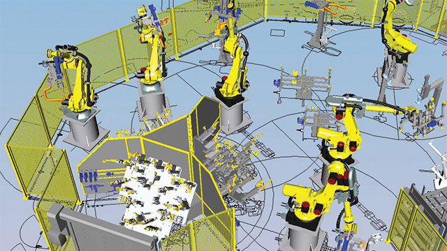 Automotive equipment manufacturer TMS performs design and validation of the production lines in the virtual world of computer simulations using Process Designer and Process Simulate.