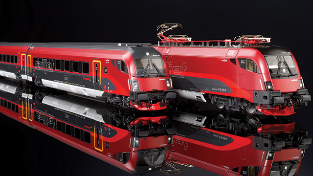 Difficult to distinguish from the original, the Roco Railjet is a finely detailed 1:87 scale railway model.
