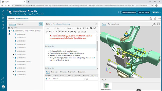 Screenshot of Teamcenter manufacturing with Easy Plan