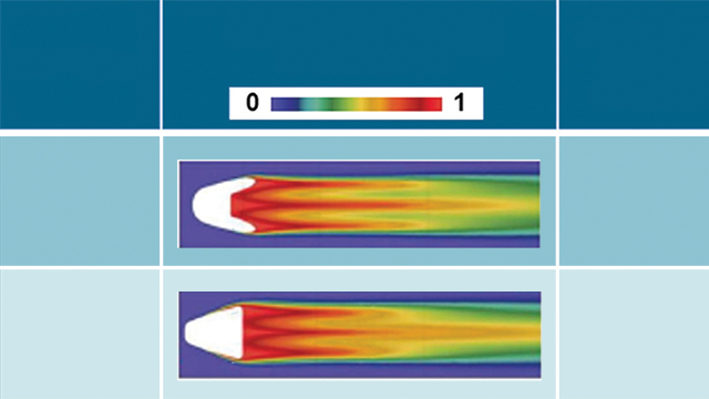 Figure 5: Comparison of cooling effectiveness and mass flow rate for a Nekomimi versus fan-shaped hole.