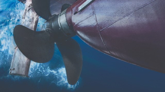 Fluid cavitation causes gas bubbles to form around a ship propeller