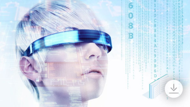 Futuristic lady with VR glasses eBook: Why smart manufacturing for electronics software landing page