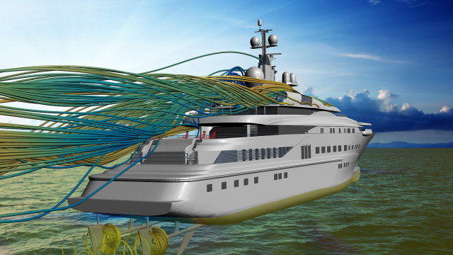 Marine CFD simulation of flow around a yacht