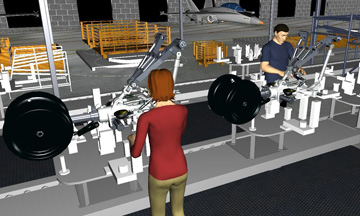 Example of Jack software simulating an assembly line.