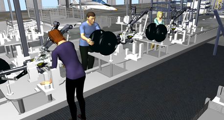 Example of Jack software simulating an assembly line