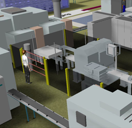 Plant Simulation 3D picture of battery production line