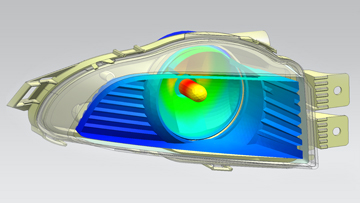 Thermal simulation of headlamp