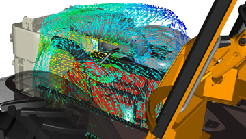 Underhood airflow simulation in a tractor